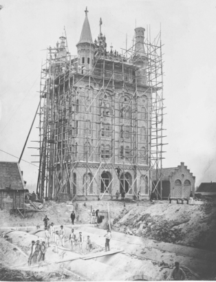 The water tower under construction, 1882